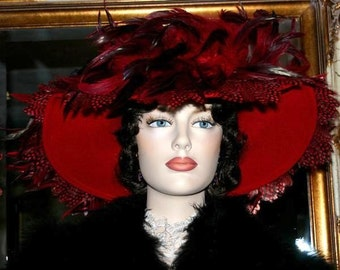 SPECIAL ORDER - Edwardian Hat, Downton Abbey Hat, Kentucky Derby Hat, Ascot Hat, Del Mar Hat, Somewhere Time Hat, Wide Brim - Lady English