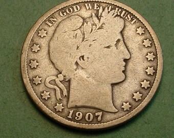 Barber Half Dollar 1907 G <> # ET3895