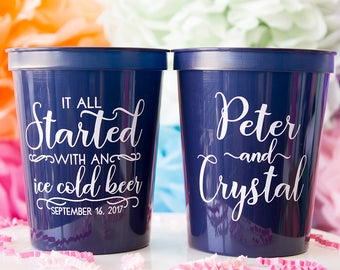 Stadium Cup, Started with a Beer, Wedding Party Cups, Wedding Favor, Party Cup, Personalized Cups, Rustic Wedding, Custom Wedding Cups