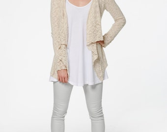 SALE 20% OFF | Organic Cotton Blend Waterfall Lace Cardigan was 149AUD