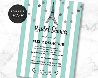 Paris Bridal Shower Invitation, Parisienne Invitation, Eiffel Tower, Modern, Invites, Mint, Stripes,Instant Download, template, PAR02