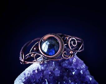 Wire wrapped jewelry Copper cuff bracelet Wire wrapped Bracelet for women Labradorite bracelet Gemstone bracelet Arm cuffs Boho bracelet