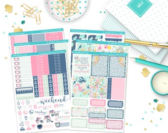 Vertical Be a Mermaid Weekly Planner Sticker Kit for Erin Condren, Plum Planner, Inkwell Press or Filofax Planners