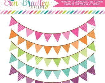 80% OFF SALE Colorful Pennant Banner Flags Clipart Clip Art for Personal & Commercial Use