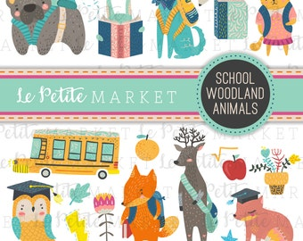 Cute Woodland School Animals Clipart, Woodland Creatures Going to School, Forest Animals, Animals with Backpacks, Back to School Clipart