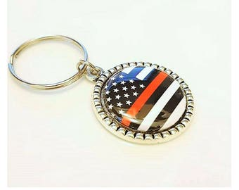 Red Line Flag, Firefighter keychain, Firemans Wife keyring, Firefighters Mom, maltese cross, Firefighters, First Responder, hat hydrant EMT