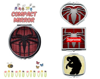 Avengers Spiderman compact mirror, makeup mirror, cosmetic mirror, portable mirror, double sided compact makeup mirror, purse mirror