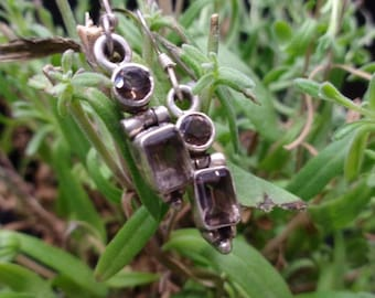 Sterling Silver 925 Earrings with Smoky Quartz (SV-ER-109)