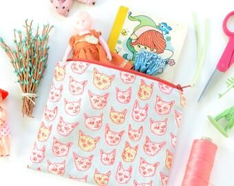 Gritty Kitties Zipper Pouch   Original Fabric Design