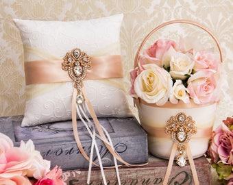 Rose Gold Ring Bearer Pillow, Flower Girl Basket, Blush Wedding Basket and Pillow Set, Rhinestone Flower girl Basket