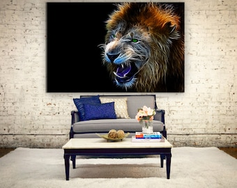 Large lion wall art, abstract lion canvas print, abstract anilmal print, lion wall decor, Abstract lion print for home decoration