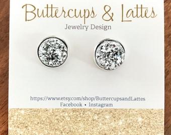 Silver Druzy Stud Earrings 12mm