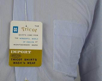 Vintage Deadstock 1960s White w/Blue Stripe Dress Shirt by Brent Size 15.5 x 34