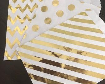 """25PK - Gold Foil 5"""" X 7"""" Treat Bags // Party Favor // Paper Bag"""