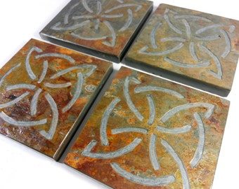 Slate Stone Coasters - Celtic Knot Coasters: Quarternary - Quality Handmade Coasters Set - Natural Drink Coasters - Irish Celtic Knot Decor