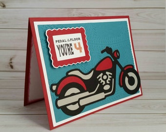 Motorcycle cards etsy fourth birthday handmade greeting card 4th birthday card motorcycle card motorcycle birthday bookmarktalkfo Image collections