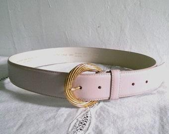 Vintage Light Pink Leather Belt Liz Claiborne Large