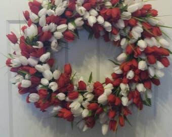 24' Tulip wreath / spring wreath / summer wreath / front door wreath / door wreath / Easter wreath