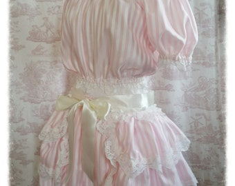 Pink Candy Stripe Lolita Burlesque Bustle   Victorian   Dance By Ophelias Folly