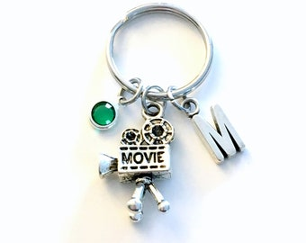 Gift for Film Student keychain, Videographer Key Chain, Camera Keyring, Initial Birthstone women her him thank you present wedding movie men