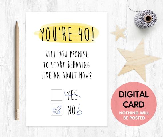 Printable 40th Birthday Card Digital Download Funny 40th