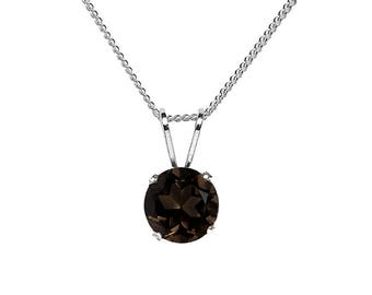 6mm Round Faceted Genuine Smoky / Smokey Quartz 925 Sterling Silver Pendant + Chain / Necklace