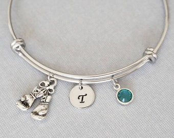 Boxing Gloves Bangle, Fighter, MMA, Kickboxing Gift, Personalized, Expandable, Initial Charm Bracelet, Swarovski Birthstone, Friend Birthday