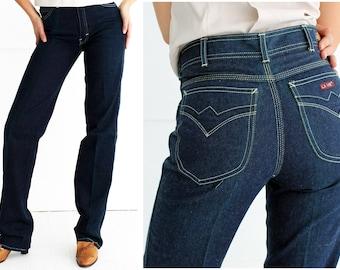 Vintage 70's/80's Dark Blue High-Waisted Straight Leg Jeans Pants by La Vie | Small Medium 29