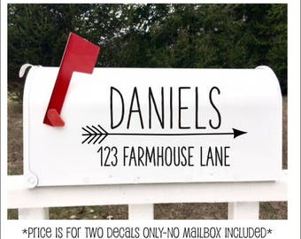 Farmhouse Mailbox Decals- Personalized Vinyl Decals- Set of Two for Mailbox- DIY Lettering- Rustic Style Name and Address Decals- Arrow