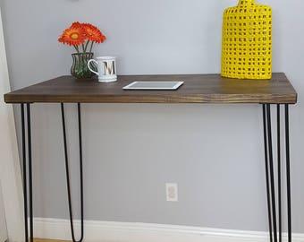 "42"" TALL!! Standing Industrial Modern Desk, Modern Rustic Desk, Hairpin Legs, Dark, Office Desk Midcentury, Dark Walnut, Tall Desk"