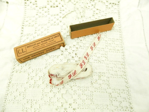 250 cm / 2.7 yards Antique French Unused Reel of Cotton Laundry Label Monogram F L, Vintage Haberdashery Sewing Craft, Retro French Country