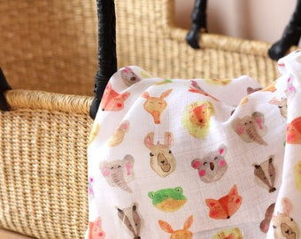 Muslin Swaddle Blanket Animals Swaddle Wrap