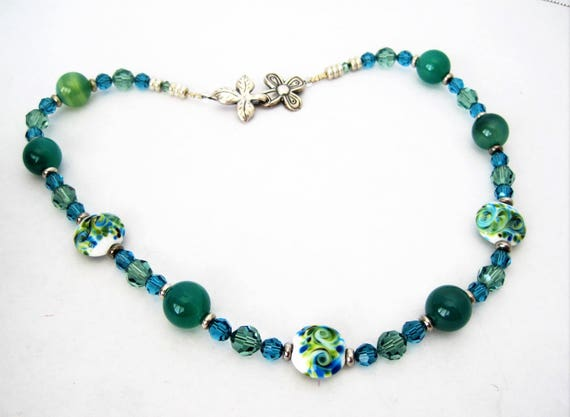 Green Glass Bead Choker, 925 Sterling Clasp, Vintage Painted Beads - Faceted Aqua Crystal Spacers