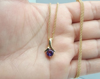 Tiny Purple Necklace,Amethyst Necklace,Everyday Minimal Necklace,Dainty necklace,February birthstone necklace,Custom Initial Necklace