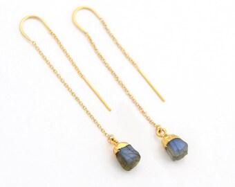 Rough Labradorite Threaders, Dainty Ear Thread Earrings, Labradorite Earrings Silver, Festival Jewelry, Tiny Crystals, Healing Stone Gift