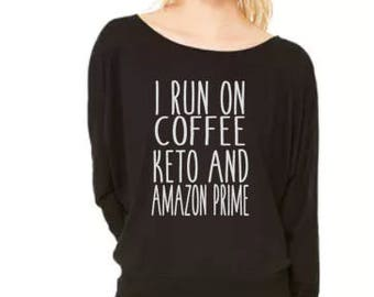 Coffee Keto and Amazon Prime - Flowy Off Shoulder T-shirt by Bella