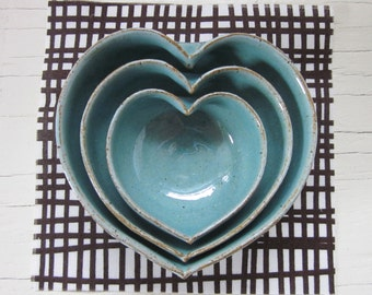 nesting pottery heart bowls 3 1/2 inches - robin's egg blue - mothers day gift
