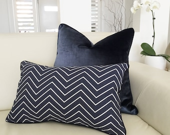 Cushions, Navy Cushions, Navy Pillows, Cover Only. Velvet Cushions Blue & White Cushion covers.