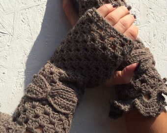 BLACK FRIDAY SALE! Ready to ship! winter gloves brown Fingerless Gloves  Crochet Arm Warmers brown winter bridal gloves  winter fingerless