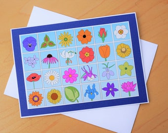 Flower card, 5x7 Floral greeting card, Flowers birthday card, Colorful bouquet greeting card, Flower lovers card, Card her, Gardener Card