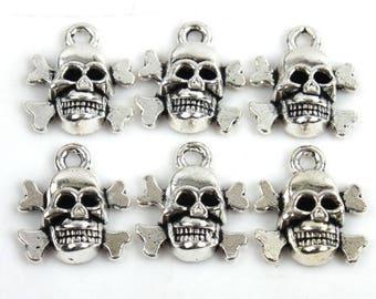 Charm shape skull antique silver metal (x 5)