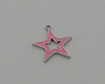 2 pendants Star Pink enameled coach - Ref: PE 718