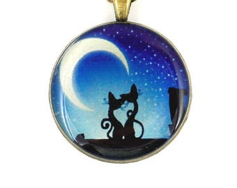 Black cat necklace Blue necklace for women necklace Pet lover gift Animal jewelry Anniversary gift for girlfriend gift for daughter gift mom