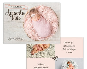 Birth Announcement Photoshop Template--Instant Download n104
