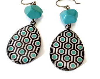 Blue and black Picture drop earrings