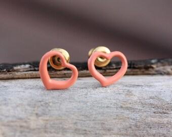 Peach Heart Studs, Heart Studs, Pink Heart Studs, Enamel Heart Studs, Enamel Studs, Coral Studs