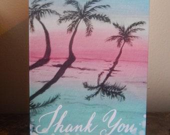 Palm tree cards, beach, ocean,