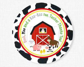 Farm Favor Tags, Barnyard Birthday, Farm Birthday Favors, Barn Animals Tag, Cow Print, Personalized
