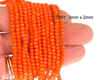 70 VERY tiny 3mm carrot orange beads, 3mm orange rondelles, Chinese crystal rondelles, 7 inch strand