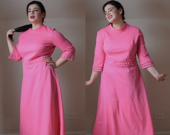70s Vintage Prom Dress | Hot Pink Dress | Plus Size Dress | XLarge Dress XL | Size 16 Dress 1X | Pink Maxi Dress | Dress with Sleeves